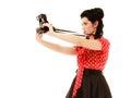 Retro pinup dziewczyna bierze fotografię z rocznik kamerą Fotografia Stock