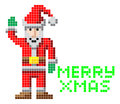 Retro pixel art christmas santa arcade video game style with merry xmas message Stock Photos