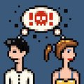 Retro pixel marriage argue illustration Stock Images
