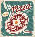 Retro pizzeria poster vintage pizza sign background template or pizza box design on old paper texture Stock Images