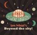 Retro planetarium advertising poster old style vector image Royalty Free Stock Photo