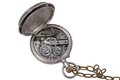 Retro pocket watch clockwork with a chain on a white background Royalty Free Stock Images