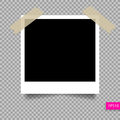 Retro polaroid photo frame template on sticky tape pin Royalty Free Stock Photo