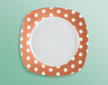 Retro polka dot empty square plate top view style Royalty Free Stock Image