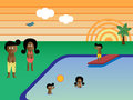 Retro Pool Family African American Royalty Free Stock Photo