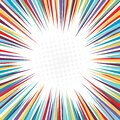 Retro pop art background with halftone dots and starburst rays. banner for comic book superhero Royalty Free Stock Photo