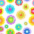 Retro pop art springtime flowers, seamless pattern Royalty Free Stock Photo
