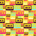 Retro pop audio tapes pattern Stock Photography