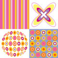 Retro pop pink yellow pattern Stock Photos