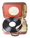 Retro portable turntable Royalty Free Stock Photo