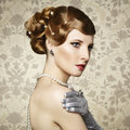 Retro portrait of  beautiful woman. Vintage style Royalty Free Stock Photo