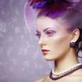 Retro portrait of beautiful woman vintage style fashion photo Royalty Free Stock Photos
