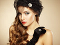 Retro portrait of beautiful woman vintage style fashion photo Stock Photos