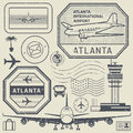 Retro postage USA airport stamps set, Atlanta theme