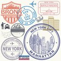 Retro postage USA airport stamps set Royalty Free Stock Photo