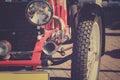 Retro postcard of the vintage car Royalty Free Stock Photo