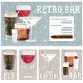 retro poster of bar with glasses of different drinks Royalty Free Stock Photo