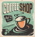 Retro poster for coffee shop on old paper texture vintage magazine ad design with hot fresh brewed cup and Stock Images