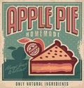 Retro poster design for apple pie vintage home made with natural and organic ingredients sign or ad concept on old paper Royalty Free Stock Image