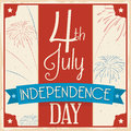 Retro Poster with Fireworks for 4th of July Celebration, Vector Illustration Royalty Free Stock Photo