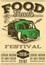 Retro poster for invitations on street food festival with food truck Royalty Free Stock Photo