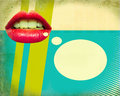 Retro poster with red mouth. Royalty Free Stock Photography