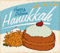 Retro Poster with Traditional Hanukkah Food with Sufganiyah and Latke, Vector Illustration Royalty Free Stock Photo