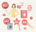 Retro promo elements set of various vintage style promotion stuff eps Royalty Free Stock Image