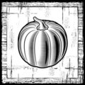 Retro pumpkin black and white Royalty Free Stock Photo