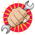 Retro Punching Fist with Spanner. Royalty Free Stock Photo