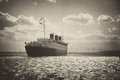Retro Queen Mary last voyage Royalty Free Stock Photo