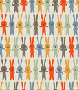 Retro rabbit seamless pattern vector rabbits with different facial expressions in colors Royalty Free Stock Photography