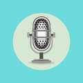 Retro radio microphone sign flat design Royalty Free Stock Photo