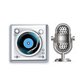 Retro radio microphone and turntable icons isolated Royalty Free Stock Images