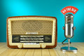 Retro radio and studio microphone. ON THE AIR Royalty Free Stock Photo