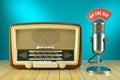 Retro radio and studio microphone. ON THE AIR Royalty Free Stock Photo