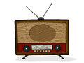 Retro radio style cartoon drawing over white background Royalty Free Stock Photo