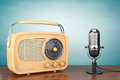 Retro Radio and Vintage Microphone Royalty Free Stock Photo