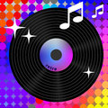 Retro rainbow music icon player element for album title Stock Photography