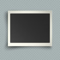 Retro realistic horizontal blank instant photo frame with shadow effects white plastic border on transparent background