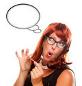 Retro Receptionist with Blank Thought Bubble Royalty Free Stock Photo