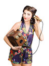 Retro receptionist on vintage telephone call us old fashioned listening bell over white background we hear you Stock Images