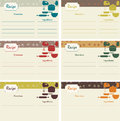 Retro recipe cards different with floral banners and kitchenware Royalty Free Stock Photos