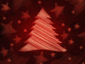 Retro red background with christmas tree and stars Stock Image