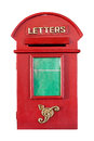 Retro red letterbox isolated on white background with clipping path and copyspace on green Royalty Free Stock Image