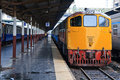 Retro Red orange train, Diesel locomotive Stock Photos