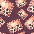 Retro reel tape recorder flat icon seamless pattern. Royalty Free Stock Photo