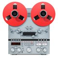 Retro reel-to-reel tape recorder, 3D rendering Royalty Free Stock Photo