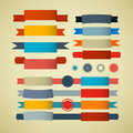 Retro ribbons labels tags set on old paper background Royalty Free Stock Photography