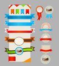 Retro ribbons and labels. Vector illustration. Stock Photography